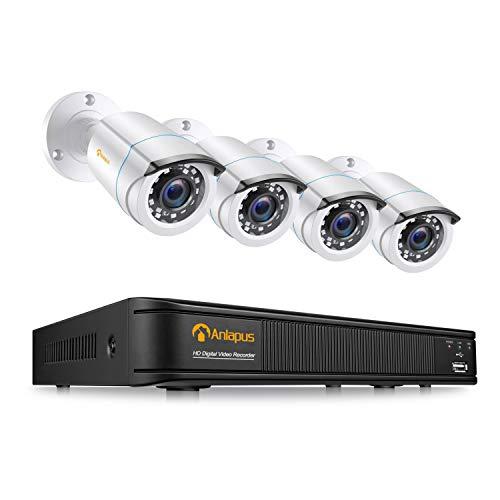Anlapus 1080P Kit di Sorveglianza DVR 8CH H.265+ Videoregistrator con 4pcs Telecamera Esterno, Senza HDD, Visione Notturna, Allarme E-mail, P2P