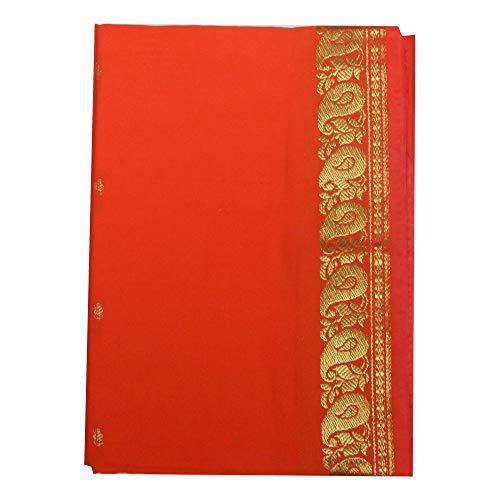Sari naranja brocado dorado vestido tradicional de la India ropa instrucciones para ponérselo tarjeta con bindis