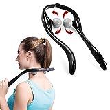 Neck Massager Manual Cervical Vertebra Massager Fatigue Pain Relief Ball Rolling Massager for Neck and Back (Black)