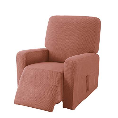 E EBETA Jacquard Sesselbezug, Sesselschoner, Stretchhusse für Relaxsessel Komplett, Elastisch Bezug für Fernsehsessel Liege Sessel (Korallenrot)