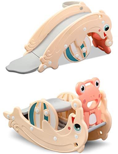 Clamaro 'Delphin' 2in1 Kinder Rutsche und Wippe Kombination, Schaukeltier einfach umdrehen und aus der Wippe wird eine Kinderrutsche für drinnen und draußen (ohne Umbau) - inkl. Basketballkorb - Coral