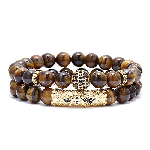 BOMAIL 8mm Tiger Eye Stone Beads Bracelet Elastic Natural Stone Yoga Bracelet for Women Men