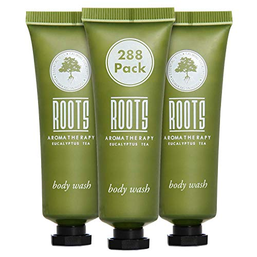 ROOTS AROMATHERAPY Body Wash 1floz/30mL Travel Size Hotel Bulk Pack (Eucalyptus Tea fragrance) Toiletries for Bathroom, Guests, Hotels, Motels, and Lodging (288 pack)