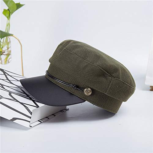 Sombrero Damas Gorra Azul Marino Boina Sombrero Hombres Chaqueta de Cuero Gorra Plana Verde Militar M (56-58cm)