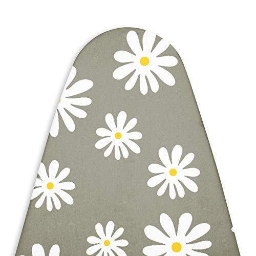 Encasa Homes reemplazo de para Tablas de Planchar Cubre con un Acolchado de Fieltro de 3 mm, Ajuste de Cuerdas (se Ajusta a Las Tablas estándar de Medio 112 x 33 cm) Impreso - Daisy Grey