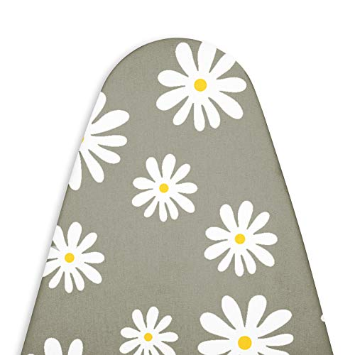 ENCASA Homes Replacement Ironing Board Cover with Thick Felt Pad Drawstring Tightening Fits Standard Large Boards of 15 x 54 inch Scorch amp Stain Resistant Printed  Daisy Grey