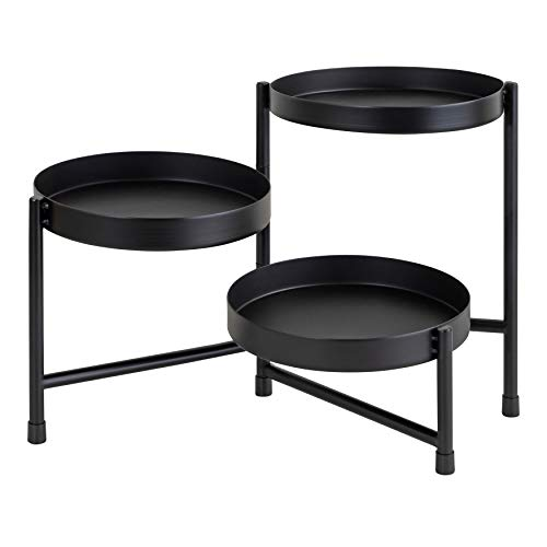 Kate and Laurel Finn Modern Tri-Level Metal Plant Stand, 7.25 x 7.25 x 10, Black, Indoor Multi-Tiered Plant Stand for Tabletop