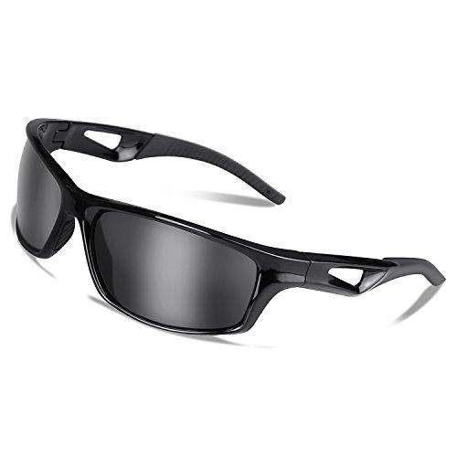 Sport Sonnenbrille Radbrille Polarisiert Fahrradbrille Sportbrillen mit UV400 Schutz, TR90 Rahmen, für Outdooraktivitäten wie Radfahren Laufen Klettern Autofahren Laufen Angeln Golf Unise(Schwarz)