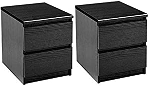 Home Square 2 Drawer Night Stands in Black Woodgrain (Set of 2)