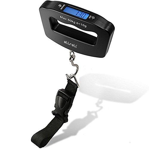 aLLreLi Digitale LCD Kofferwaage mit Gurt, Haken und Batterien (10g - 50kg) (Gramm, Oz, kg, lb Einheiten)
