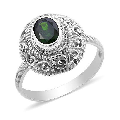 Royal Bali Chrome Diopside Solitaire Ring for Women in 925 Sterling Silver Christmas Gift/Engagement Jewellery, TCW 1.25ct