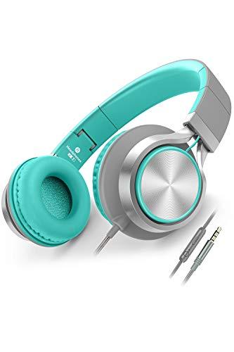 Ailihen Kopfhörer Mit Kabel Mikrofon Lautstärkeregelung Leicht Faltbar Musik Headsets 3,5mm für Smartphones PC Laptop Mac MP3 Tablet (Minzgrün)