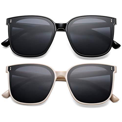 SCVGVER Trendy Oversized Sunglasses for Women Men, Vintage Square Frame Shades with UV400 Protection Flat Lens (Black Frame /Gray Lens + White Frame/ Gray Lens)