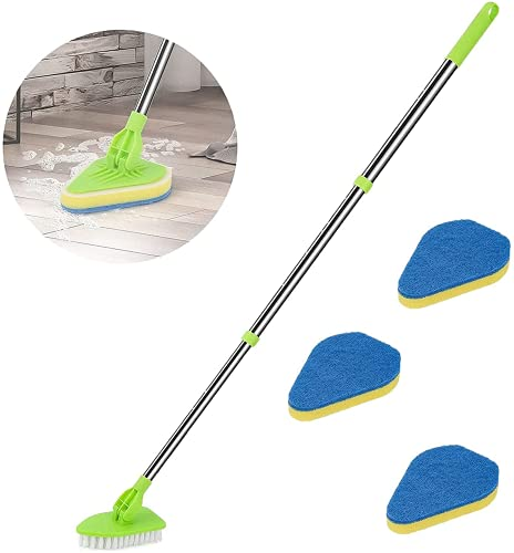 MTDBAOD Scalable Rotatable Long Extendable Handle Removable Scrub Brush Scrubber, 2 in 1 Detachable Cleaner Brush with Replacement Head for Cleaning Bathtub Shower Bathroom