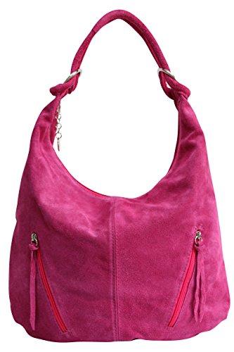 AMBRA Moda Damen Ledertasche Shopper Wildleder Handtasche Schultertasche Beuteltasche Hobo Tasche Groß WL822 (Fuchsia)