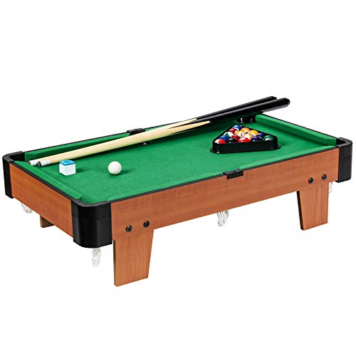 GYMAX Billiards Table, Space-saving Snooker Table with 2 Cues, 16 Balls, Chalk & Triangle, Mini Pool Table Set for Kids and Adults