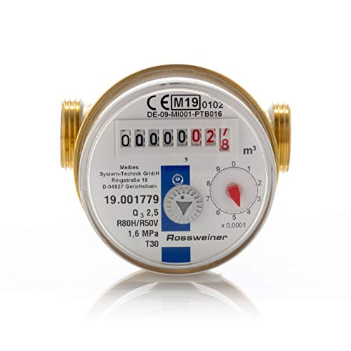 1270601B3 Wohnungs-Wasserzähler Aufputz für Kaltwasser, Q3 2,5m³, Baulänge 80 mm