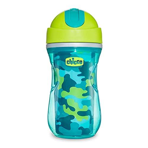 Chicco Sport Cup Bicchiere Antigoccia per Bambini 266 ml, Tazza Biberon 14+ Mesi per Imparare a Bere, Bottiglia Termica con Cannuccia in Silicone Flessibile, senza BPA - Arancione o Verde
