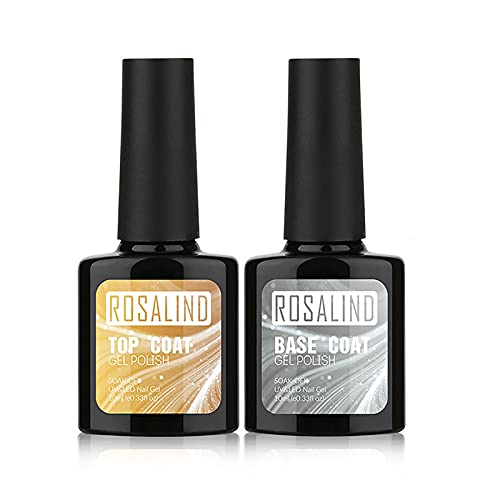 ROSALIND - Top Base Coat Smalto Semipermanente per Unghie in Gel UV LED Soak Off Color Gel Nail Polish 2 x 10 ml