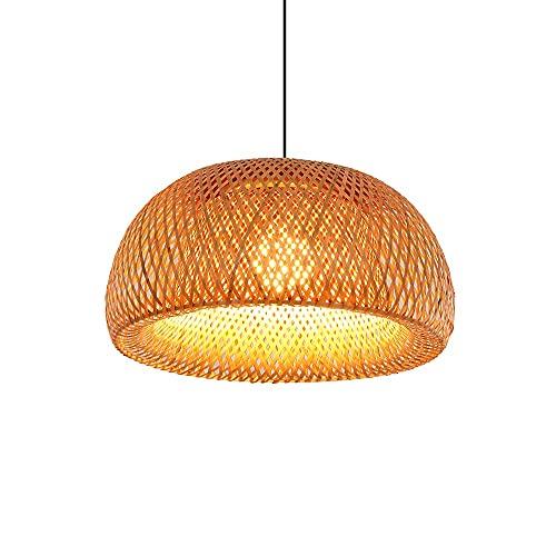 Xungzl Estilo japonés Simple Hand-tejido de bambú Colgante de iluminación, estilo asiático del sudeste Restaurant decoración de la araña de ratán, lámpara colgante de estilo rural natural, dispositivo