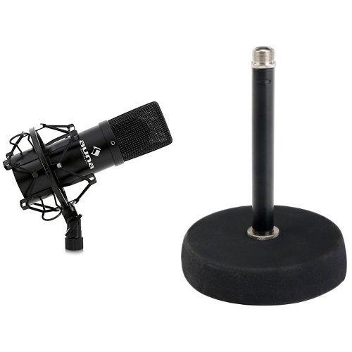Auna MIC-900B USB Kondensator Mikrofon für Studio-Aufnahmen inkl. Spinne (16mm Kapsel, Nierencharakteristik, 320Hz - 18KHz) schwarz + Pronomic MST-10 BK Mikrofon Tischstativ Tischmikrofon Stativ Ständer (für 3/8