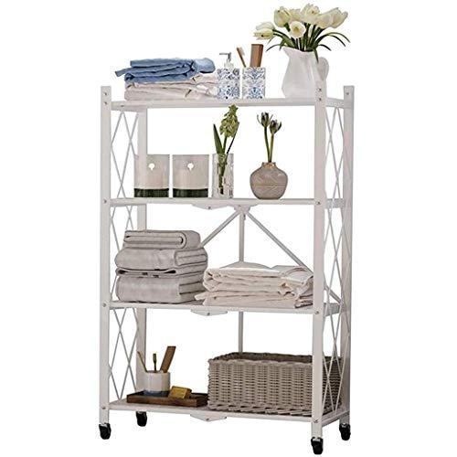 QAQA 4-Shelf Movable Goods Rack With Wheels, Folding Standing Shelving Unit Display Rack Storage Shelf, Storage Shelf Garage Shelf Book Shelves (Color : White, Size : 71.5 * 36.5 * 127cm)