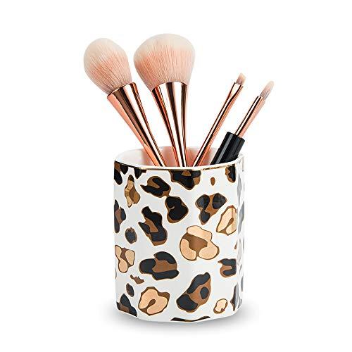MIGZOE Pen Holder, Stand for Desk Leopard Print Pencil Cup Durable Ceramic Desk Organizer Makeup Brush Holder for Girls Women (Gold Leopard)