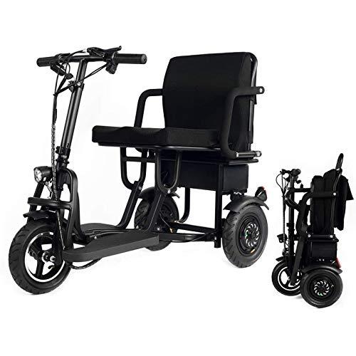 Scooter plegable Movilidad Scooter eléctrico de 3 ruedas Lightweight portable de la energía Scooters viaje - Soporte 280 Lbs peso solamente 58 libras de largo alcance (18.6 millas)
