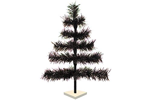 24' Black Christmas Trees 2FT Tall Flame Resistant Indoor Outdoor Classic Tinsel Feather Tree Tabletop Halloween Retail Display Tree Base Stand Included (Black)