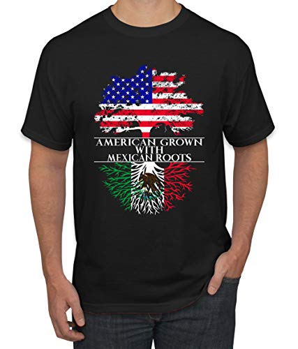Wild Bobby American Grown with Mexican Roots | Mens Mexico American Pride Graphic T-Shirt, Black, Small