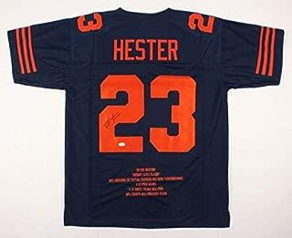 Devin Hester Autographed Signed Memorabilia 23 Team Stats Chicago Bears Color Rush Jersey JSA COA