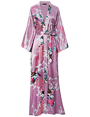 BABEYOND Women's Kimono Robe Long Robes with Peacock and Blossoms Printed Kimono Outfit (Mulberry Wine)