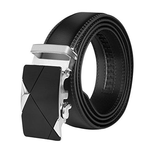 HBF Gürtel Herren aus Echtleder mit Automatikschließe Länge von 120 cm Breite von 35mm - schwarz