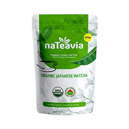 MATCHA Authentic - Premium Drinking Grade - Japanese Origin Green Tea powder - Certified Organic - Shizuoka Japan - by NaTeavia (100-Gr bag)