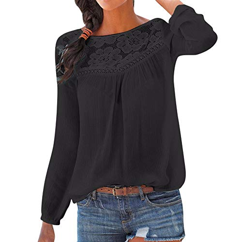 YWLINK Damen Elegant Volltonfarbe T-Shirt Kurze ÄRmel Spitzen Patchwork Tops Blusen (Schwarz,S)