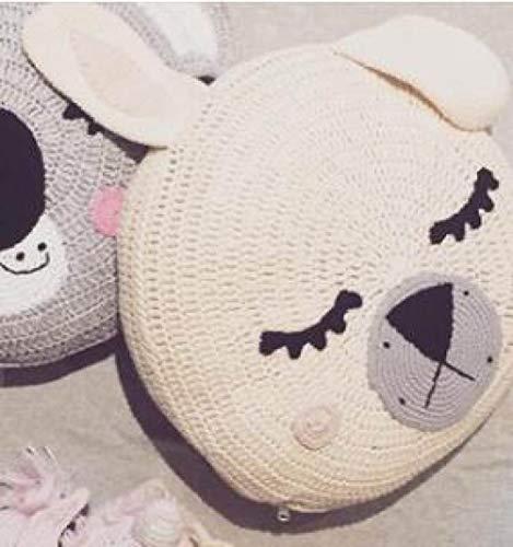 FKIHK SitzkissenIns Dekorative Kissen Cartoon Kissen Handgemachte Gestrickte Bär Kaninchen Kissen Schlaf Spielzeug Gefüllte Plüsch Puppen Geschenke Für Kinder Baby, Kaninchen, 45x45 cm