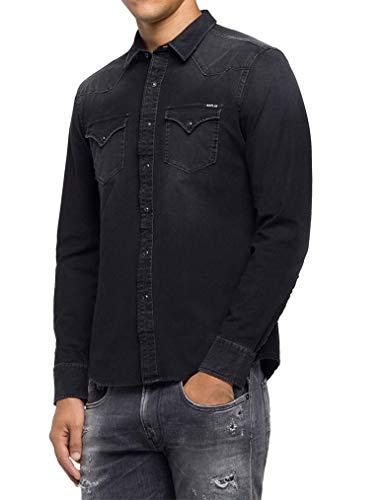 REPLAY M4001 .000.41b 337 Camisa Vaquera, Negro (Black 98), X-Small para Hombre