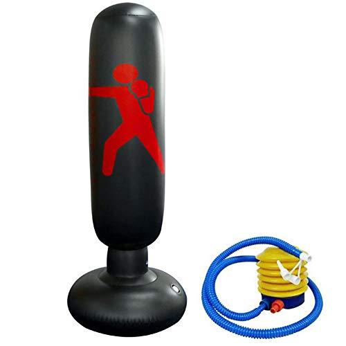 XUBX 160CM Boxsack, Aufblasbare Standboxsack, Boxsäule Tumbler Stehend Sandsäcke, Kinder Jugendliche Fitness Dekompression Boxsack Standboxsäcke für Karate, Taekwondo (Fußluftpumpe Enthalten)