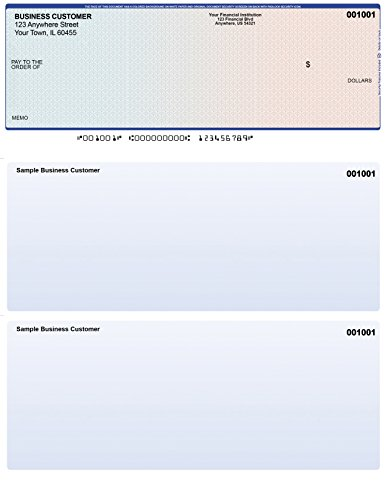 Blue-Red Top Style Custom Laser Checks - Business Computer Checks with Top Voucher - 50 Checks