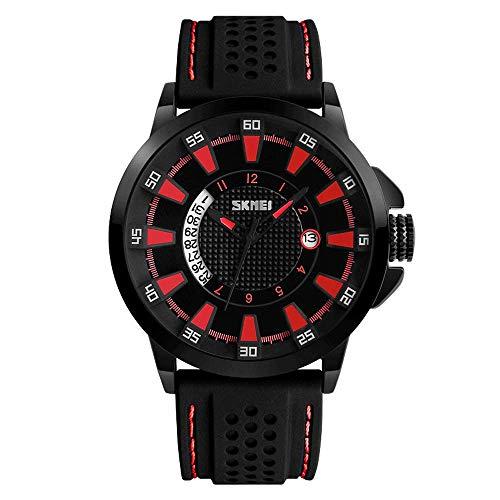 Reloj de moda para hombre, 30 m con calendario impermeable, relojes de pulsera de cuarzo con tres agujas, reloj de negocios de ocio con correa de silicona, relojes deportivos militares al aire libre