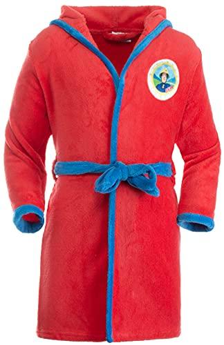 Brandsseller Albornoz infantil con capucha, diseño de Sam el bombero., rojo, 122 cm-128 cm