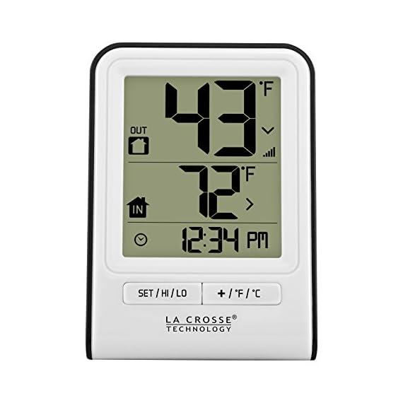 La Crosse Technology 308-1409WT-CBP Wireless Temperature Station, White 1 Monitors indoor & wireless outdoor temperatures (F/C adjustable) Hi/low records of temperature values Indoor Humidity (%RH)