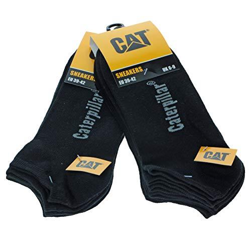 Caterpillar 6 Paia Calze Uomo Fantasmino Sneaker Cat morbido Cotone alla caviglia disponibili in vari colori e taglie (nero, 43-46)