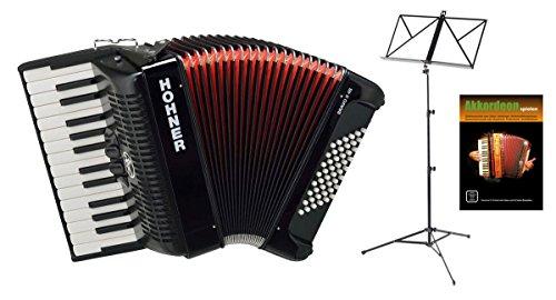 Hohner Bravo III 48 Akkordeon schwarz SET inkl. Notenständer und Schule (Pianoakkordeon, 48-Bässe, 2-Chöre, 2 Register, inkl. Trageriemen, Gigbag Tasche, Noten)