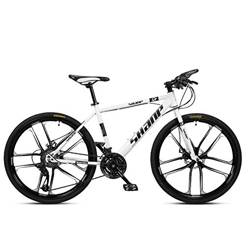 CWZY 26 Inch Mountain Bikes, Men's Dual Disc Brake Hardtail Mountain Bike, Bicycle Adjustable Seat, High-carbon Steel Frame,21 Speed,Yellow 10 Spoke