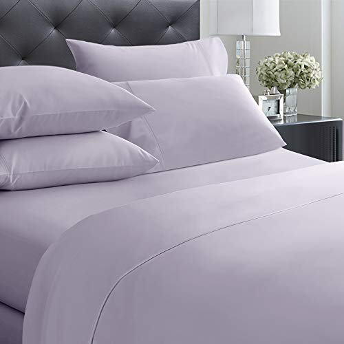 400-Thread-Count Queen Size Sheet Set - 6 Pcs with 4 Pillowcases - 100% Cotton Bedding Set Lavender Gray Sateen Weave Sheets, Elasticized Deep Pocket Fits Low Profile Foam and Tall Mattresses