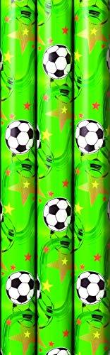 3 Rollen Premium Geschenkpapier Fußball, Soccer, Football, Kinder, Geburtstag, 2m x0,7m