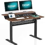 Fenge Höhenverstellbarer Schreibtisch Elektrisch 120x70cm Höhenverstellbares Stehpult 4 Memory Preset Sit to Stand Pult (schwarz Rahmen und braun Desktop)