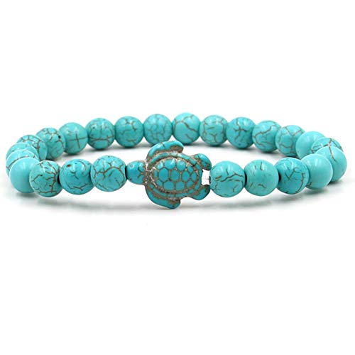 Caiyao 8mm Turquoise Sea Turtles Beads Bracelet Elastic Stretch Bracelet for Women Men-Blue