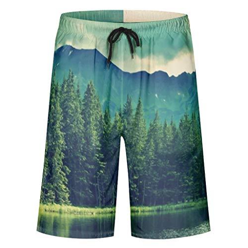 STELULI Pantalones cortos para hombre con estilo Forest Beach, varios diseños, para actividades de natación